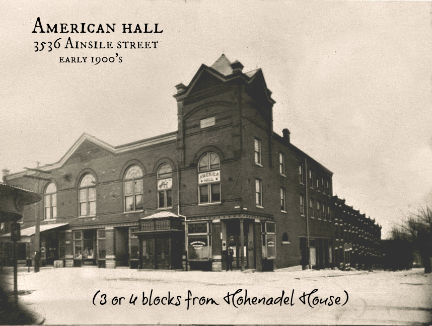 American Hall at Ainsle early 1900 PM